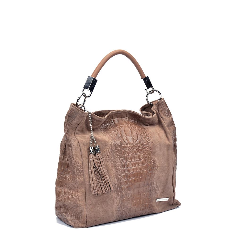 Bolso de mano piel mujer - marrón