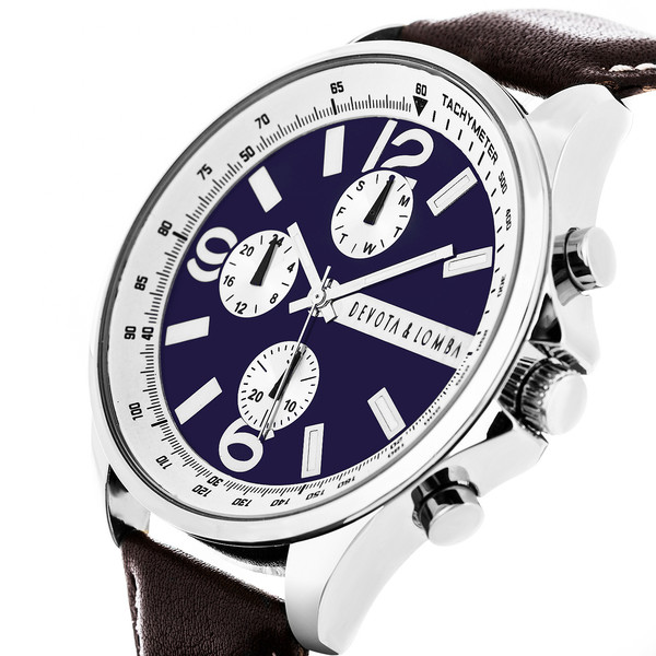 Reloj hombre analógico acero - marrón