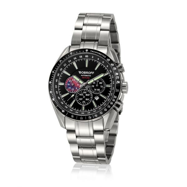 Reloj analógico/cronómetro acero hombre - plateado