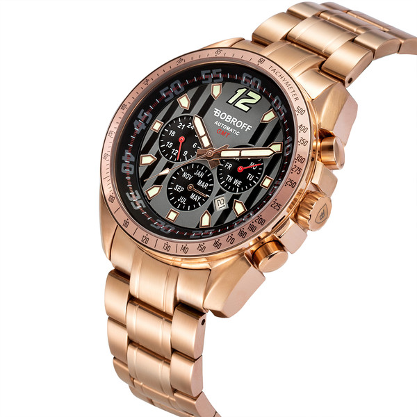 Reloj analógico/cronómetro acero hombre - bronce