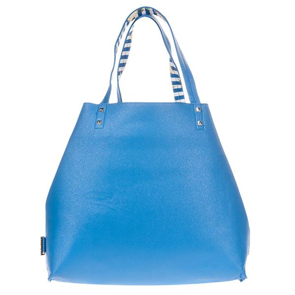 35x32x12cm Bolso handbag reversible Elle - azul/estampado