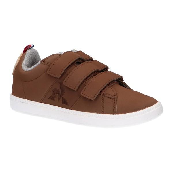 Sneaker infantil piel - marrón