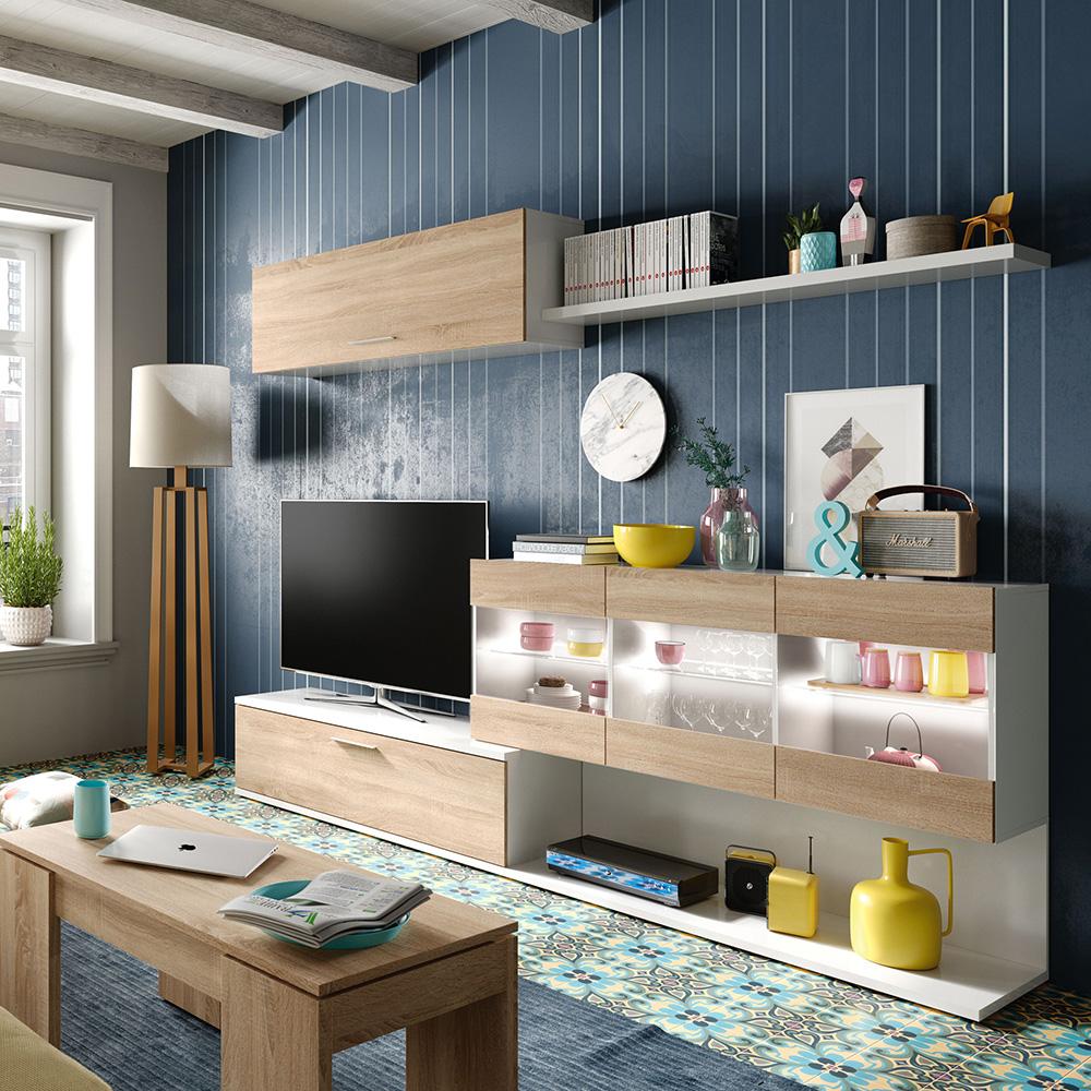 Mueble comedor Vetro - blanco brillo/roble canadian HABIT DESIGN ...