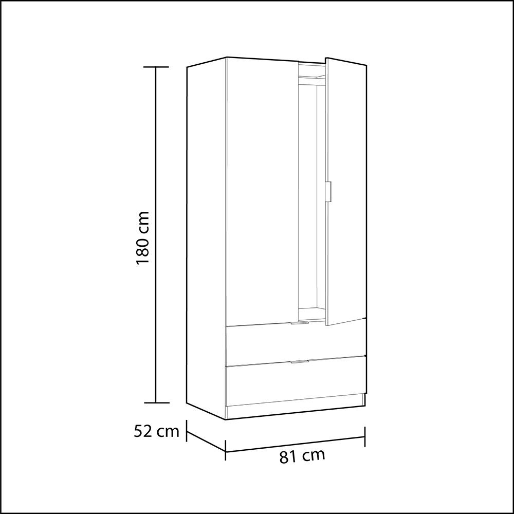 Armario 2 puertas Low cost - blanco artic/roble canadian