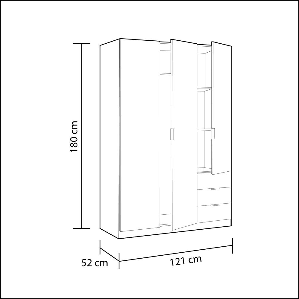 Armario Lowcost 3 puertas - blanco