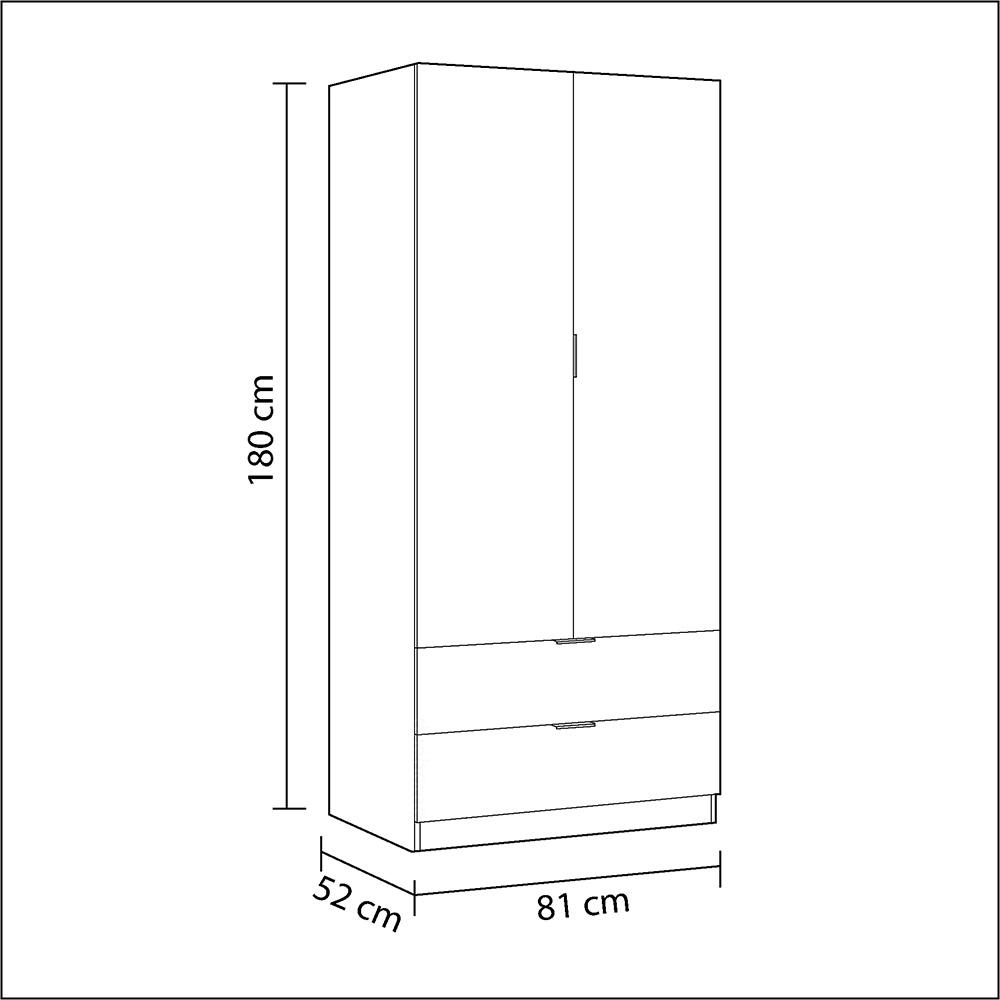 Armario 2 puertas + 2 cajones - blanco