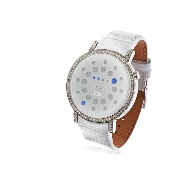 Reloj binario piel unisex - blanco