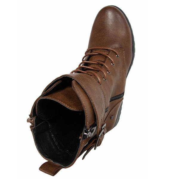 3cm Botín plano cordones - marrón