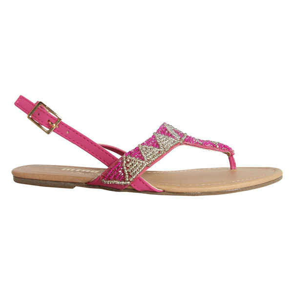 Sandalias planas combinada mujer - rosa