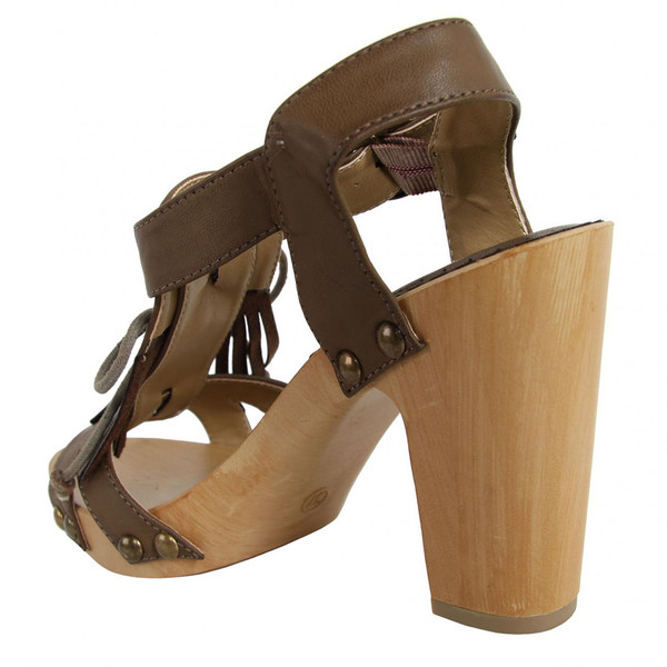 7cm Sandalia tacón mujer - marrón