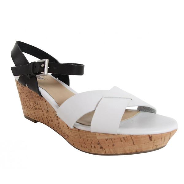 10cm Sandalia cuña bicolor mujer - blanco