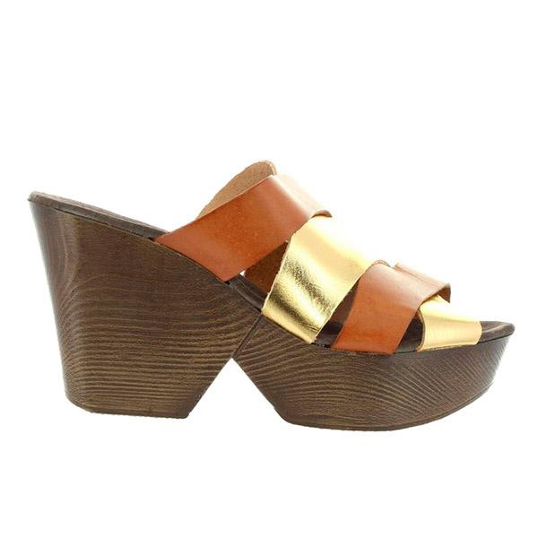 9cm Zueco tacón mujer piel - marrón