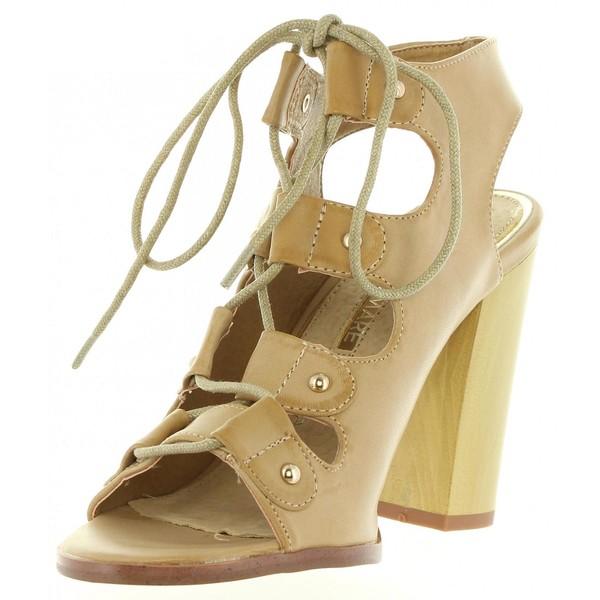 Sandalias tacón mujer - beige