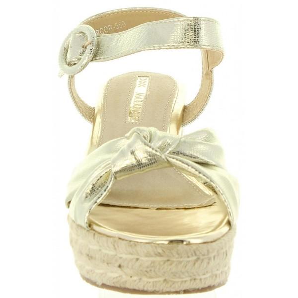 7cm Sandalia cuña mujer - champán