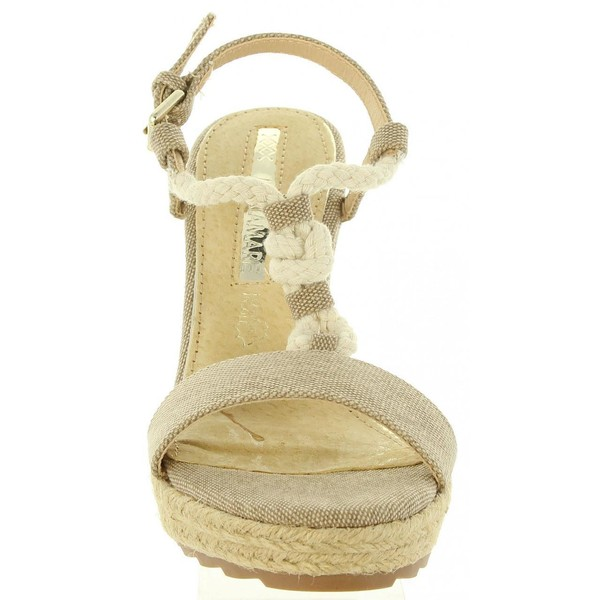 Sandalias cuña mujer - arena