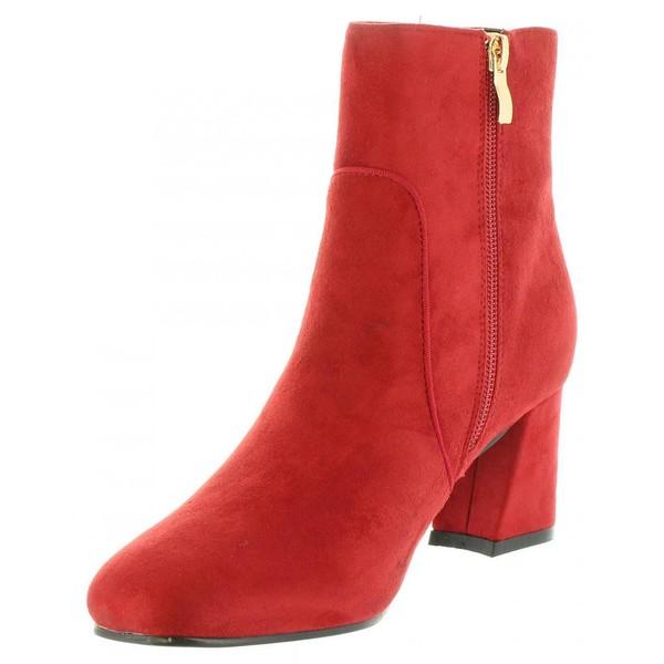 6cm Botín tacón mujer - rojo