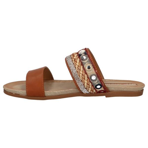 Sandalia plana mujer - marrón