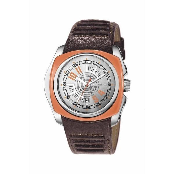 Reloj hombre analógico acero/piel - marrón