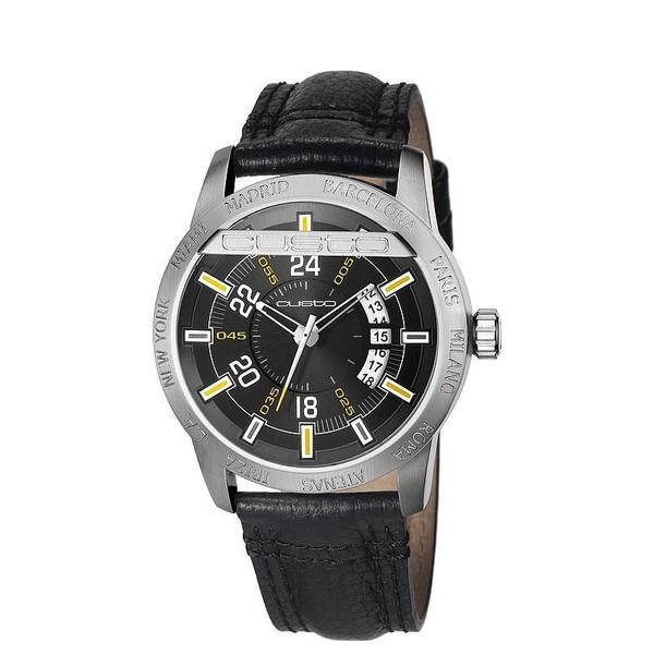 Reloj hombre analógico acero/piel - negro