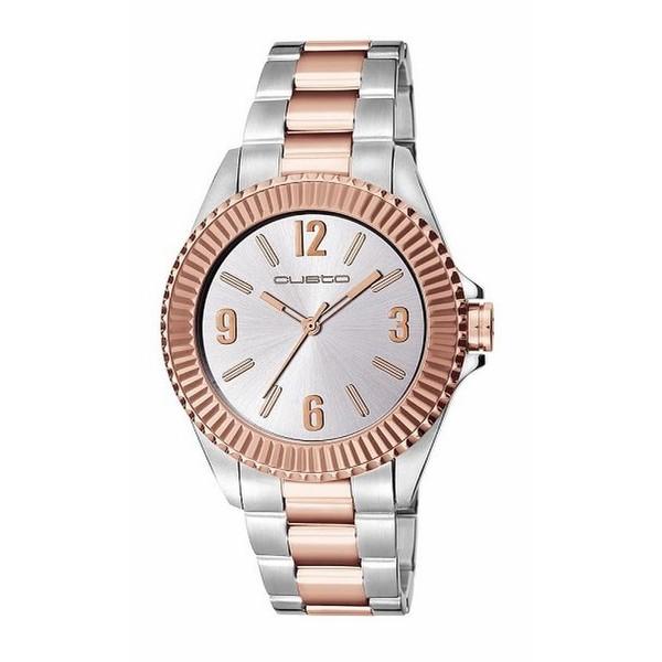 Reloj analógico acero mujer - plateado/rosado