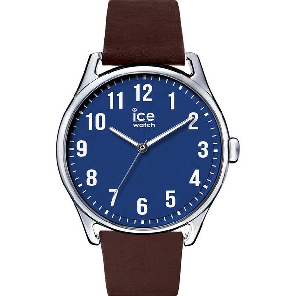 Reloj analógico piel hombre - azul/marrón