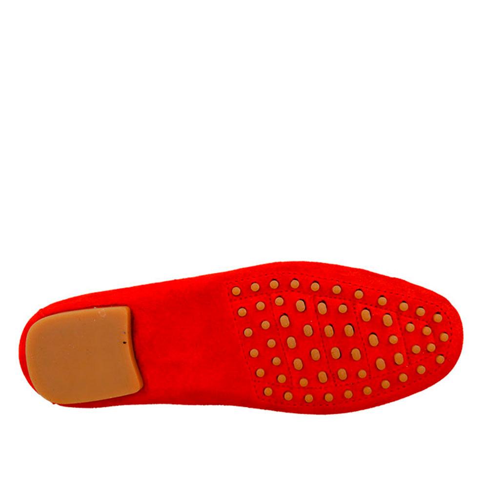 Mocasín piel mujer - rojo
