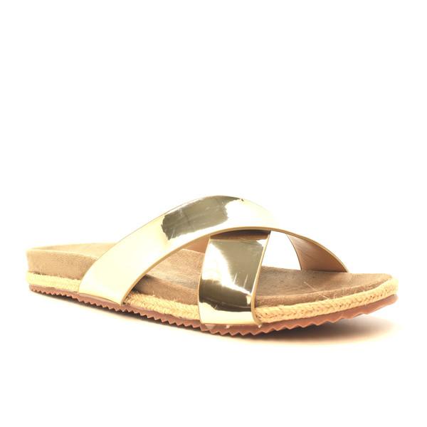 Sandalia flatform espejo - dorado