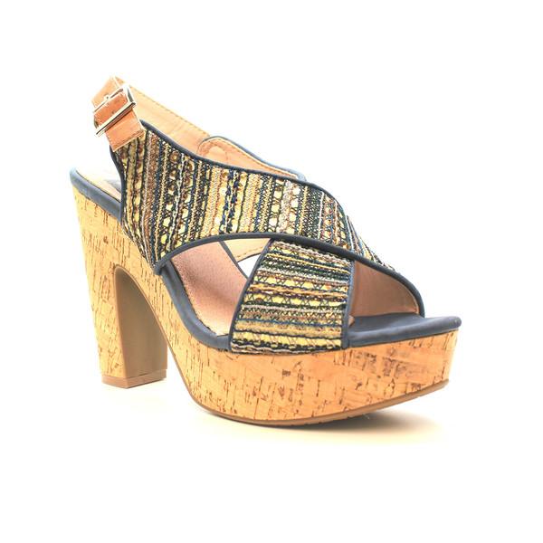 10cm Sandalia tacón textil - dorado