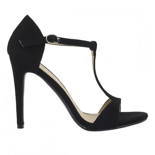 Sandalias tacón fino mujer - negro