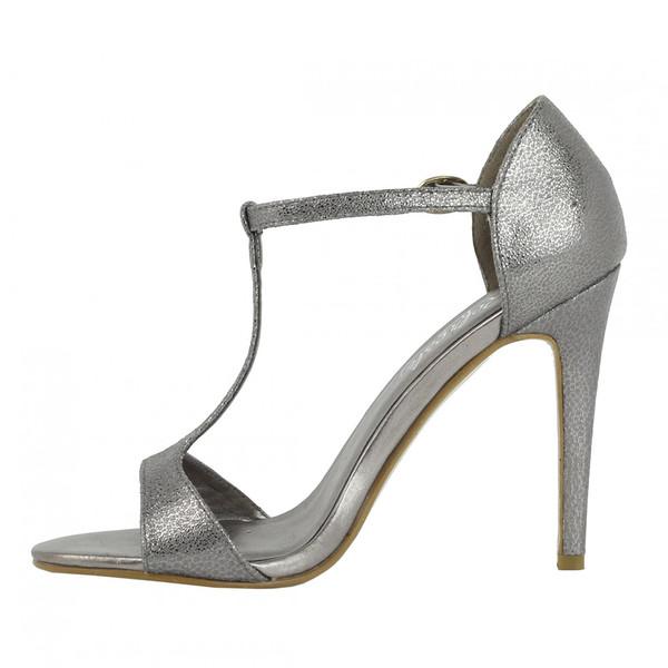 Sandalias tacón fino mujer - gris