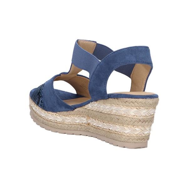 Sandalia cuña mujer - azul