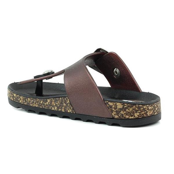 Sandalia plana infantil/juvenil - marrón
