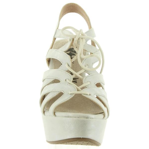 13cm Sandalia tacón piel mujer - blanco