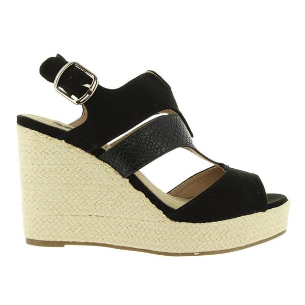 Mujer 10cm Cuña Sandalia Negro 7bfg6y