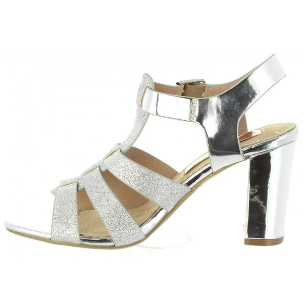 Sandalia tacón mujer - plata
