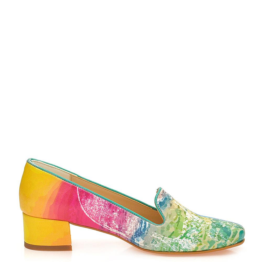4cm Mocasín tacón mujer - multicolor
