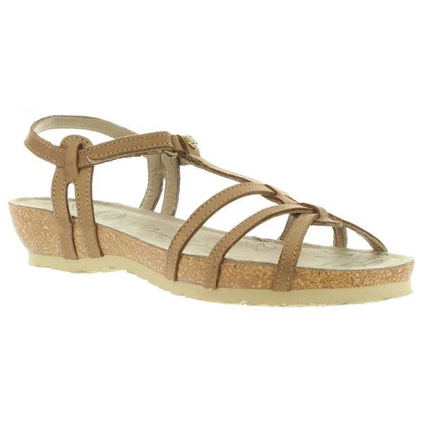 Sandalia cuña piel mujer - taupe