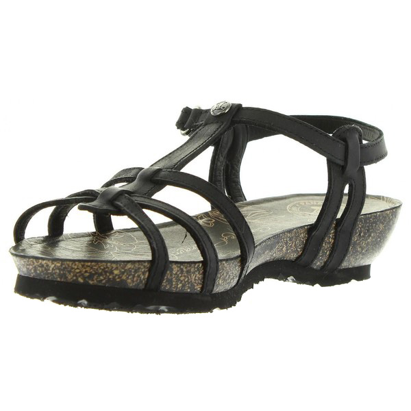 Sandalia plataforma piel mujer - negro