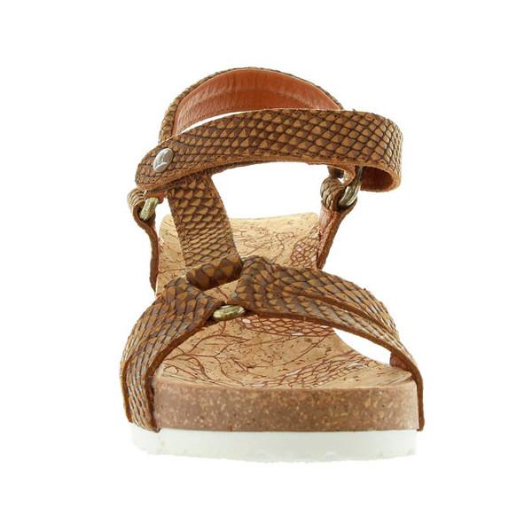 6cm Sandalia cuña piel mujer - marrón
