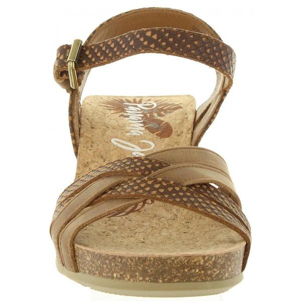 5cm Sandalia cuña piel mujer - marrón