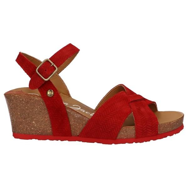 6cm Sandalia cuña piel mujer - rojo