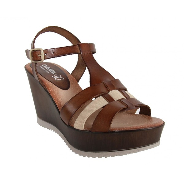 10cm Sandalia cuña piel mujer - marrón