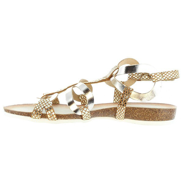 Sandalias planas mujer - dorado/plateado