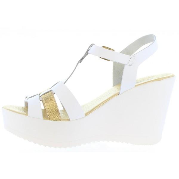 9cm Sandalia cuña piel mujer - blanco/dorado