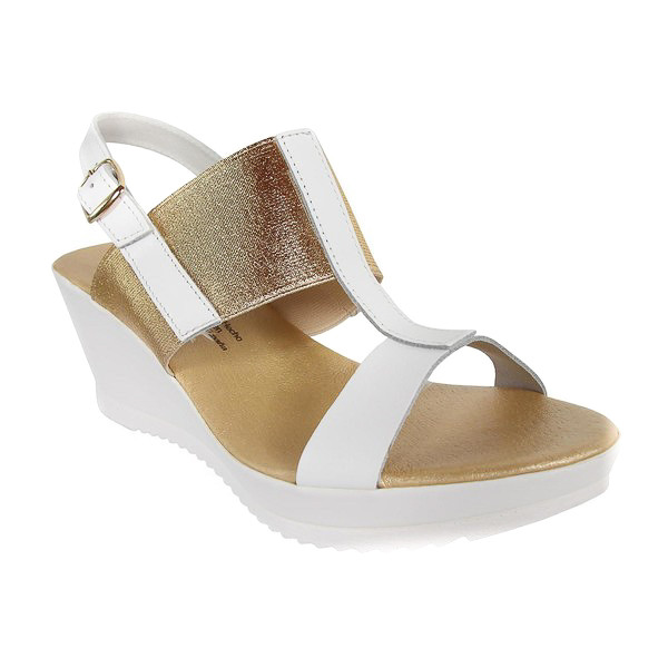 Sandalias cuña mujer piel - blanco/dorado