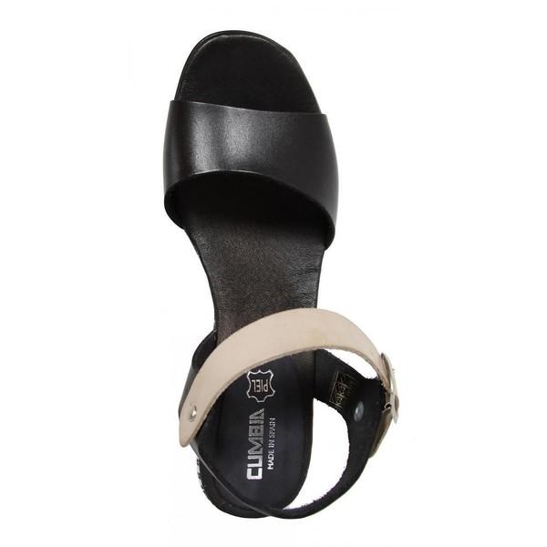 7cm Sandalia cuña piel mujer - negro