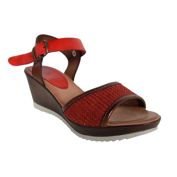 Sandalia cuña piel mujer - rojo