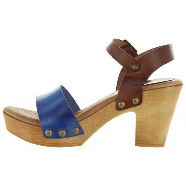 9cm Sandalia tacón mujer - marrón/azul
