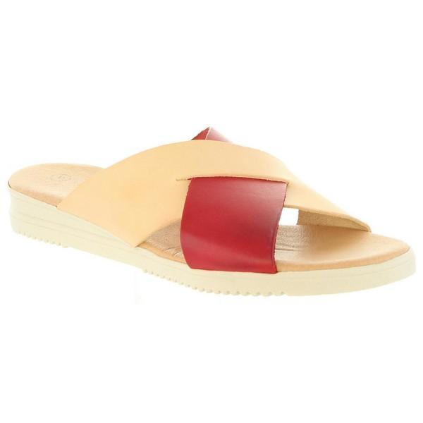 Sandalias planas mujer piel - rojo
