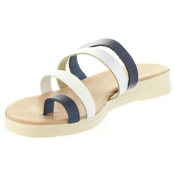 Sandalia piel mujer - azul